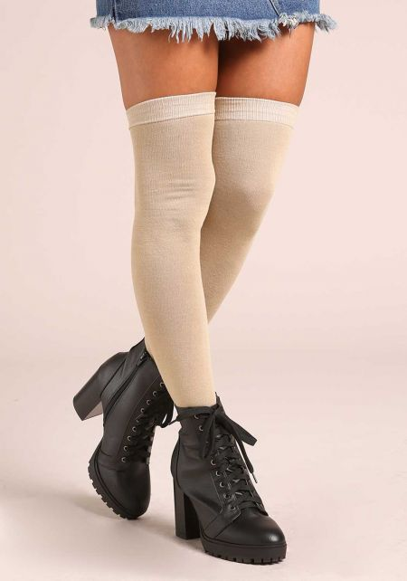 Taupe Thigh High Knit Socks