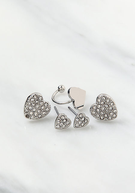 Silver Rhinestone Heart Earrings Set
