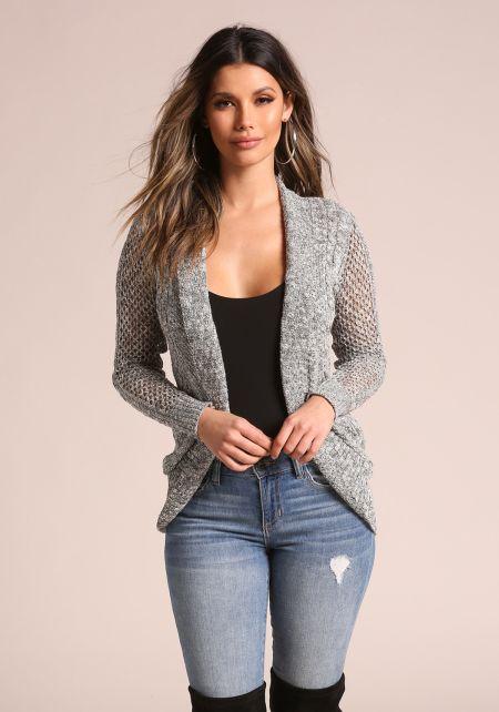 Grey Marled Purl Knit Cardigan