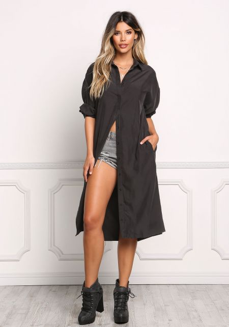 Black Collared Longlined Hi-Lo Shirt Dress