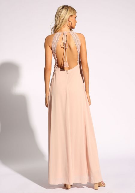 Blush Open Back Slit Pleated Maxi Dress