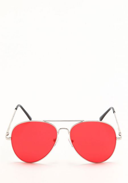 Zero UV Red Flat Lens Aviator Sunglasses
