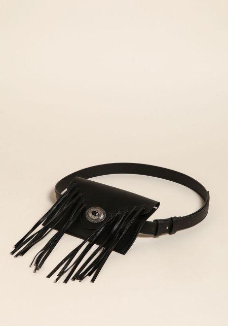 Black Leatherette Fringe Fanny Belt