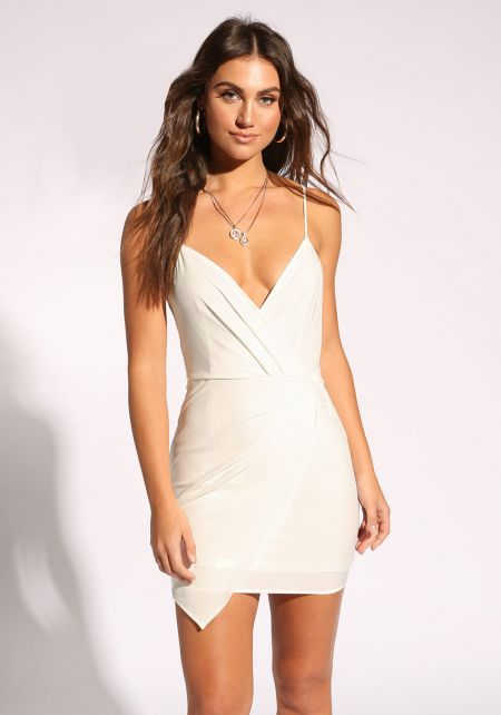 White Pleated Layered Bodycon Dress
