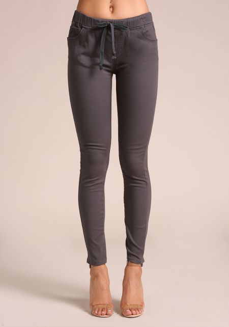 Charcoal Drawstring High Rise Skinny Pants