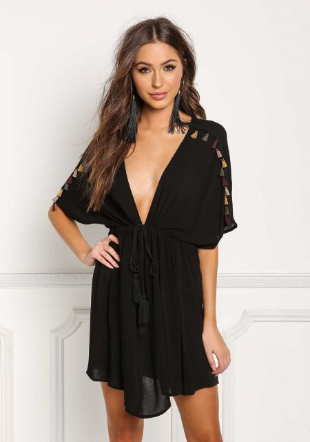 Black Crepe Plunge Tassel Tunic Top