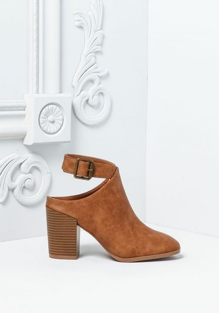 Tan Leatherette Ankle Strap Booties
