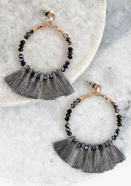 Black Beaded Mini Tassel Earrings