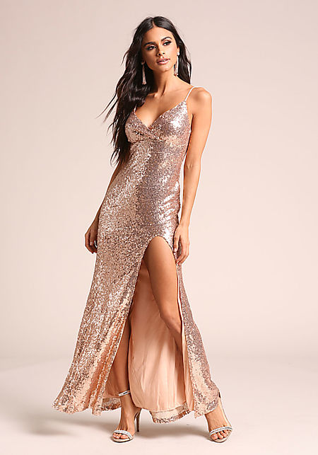 Rose Gold Sequin High Slit Maxi Gown