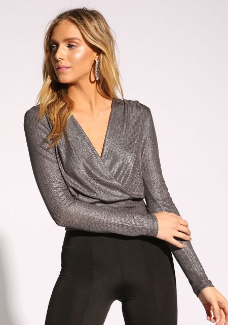 Silver Metallic Plunge Crop Top