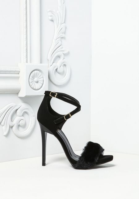 Black Leatherette Faux Fur Ankle Strap Heels