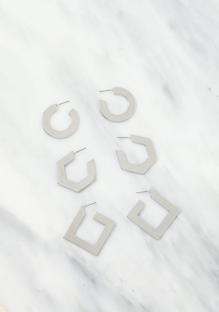 Silver Geometric Earrings Set
