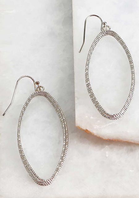 Silver Textured Metal Teardrop Earrings
