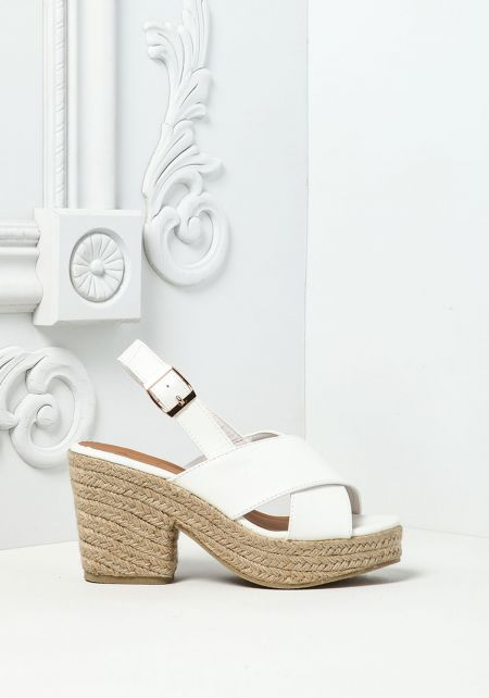 White Cross Over Braided Wedges