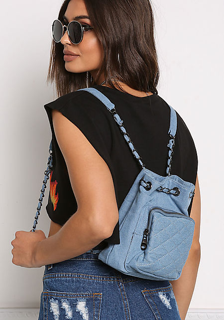 Light Denim Quilted Mini Backpack