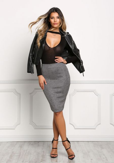 Silver Metallic Knit Skirt