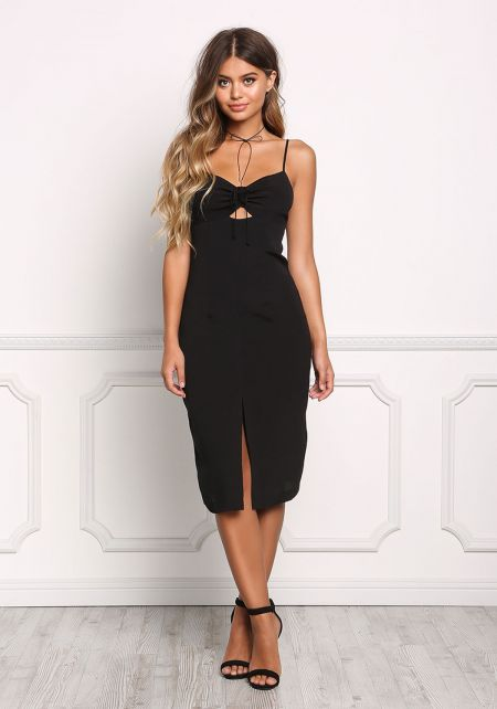 Black Ruched Front Slit Bodycon Dress