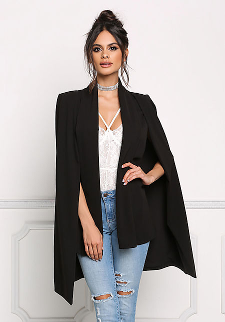 Black Slit Hi-Lo Cape Blazer