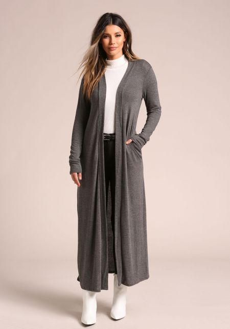 Charcoal Longlined Duster Cardigan