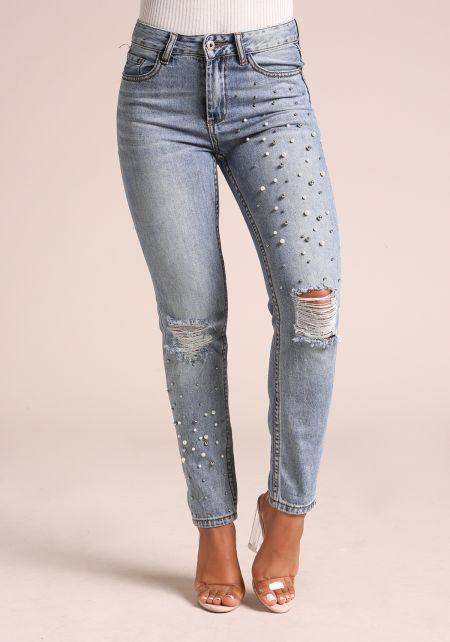 Denim Stud & Pearl Mid Rise Jeans