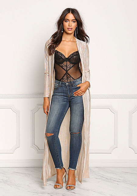 Gold Lustrous Pleated Longlined Duster