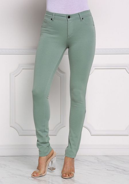Dusty Sage Mid Rise Stretchy Pants