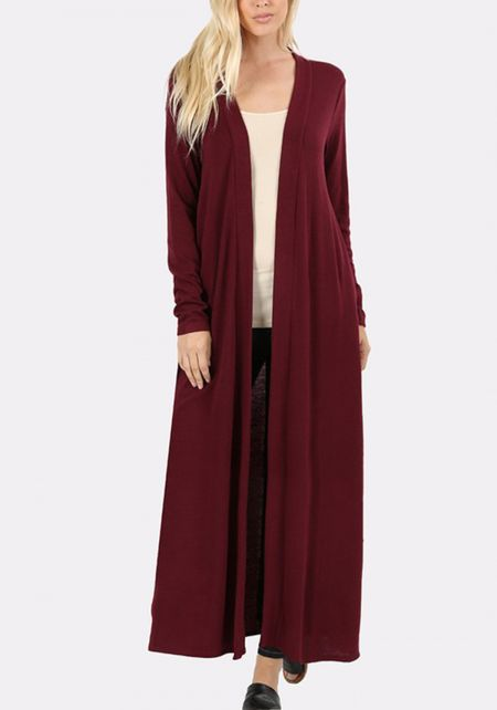 Burgundy Duster Longlined Cardigan