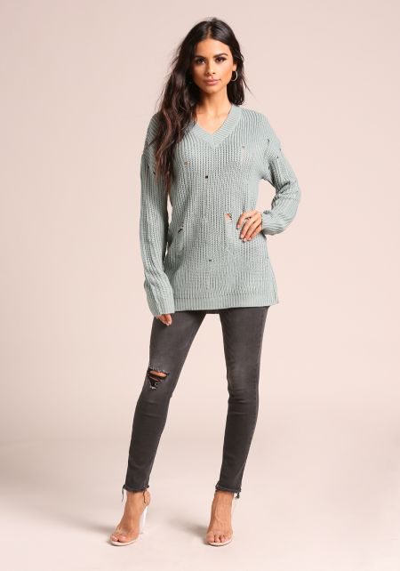 Sage Distressed V Neck Sweater Top