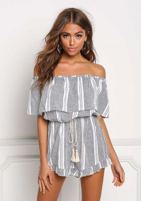 Blue Off Shoulder Layered Pinstripe Tassel Strap R