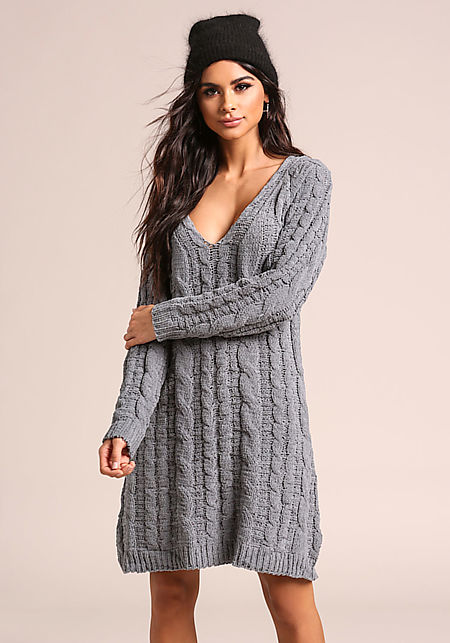 Charcoal Chunky Cable Knit Sweater Shift Dress