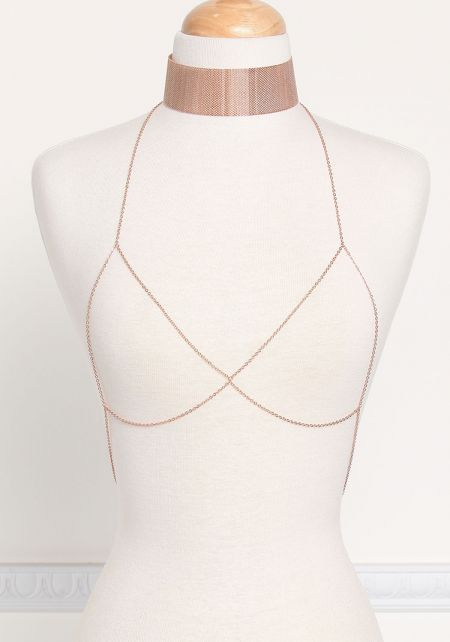 Rose Gold Thin Chain Bralette & Choker Set