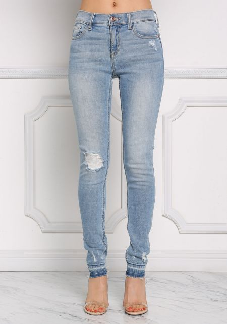 Light Denim Mid Rise Distressed Jeans