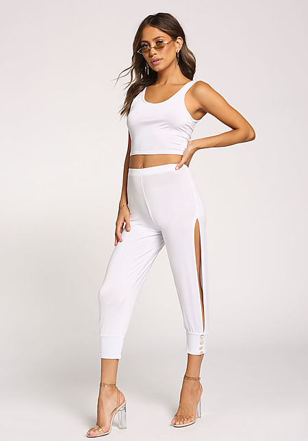 ba2bc9742642 White Side Slit High Rise Pants ...