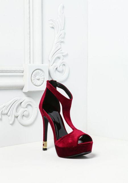 Burgundy Velvet Peep Toe Heels