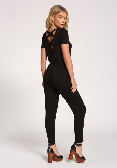 Black Back Cross Strap Knit Jumpsuit