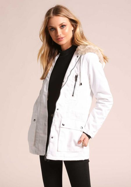 Ivory Faux Fur Hooded Parka Jacket
