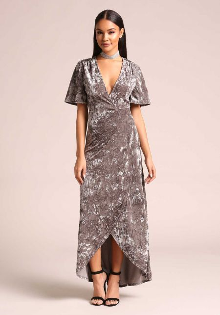Grey Crushed Velvet Wrap Maxi Dress
