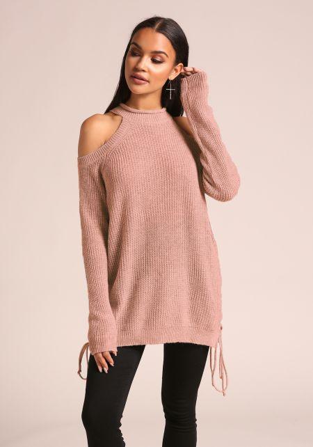 Mauve Cold Shoulder Side Lace Up Sweater Top