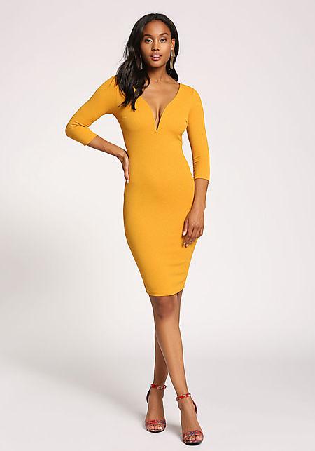 Mustard Plunge Textured Bodycon Dress