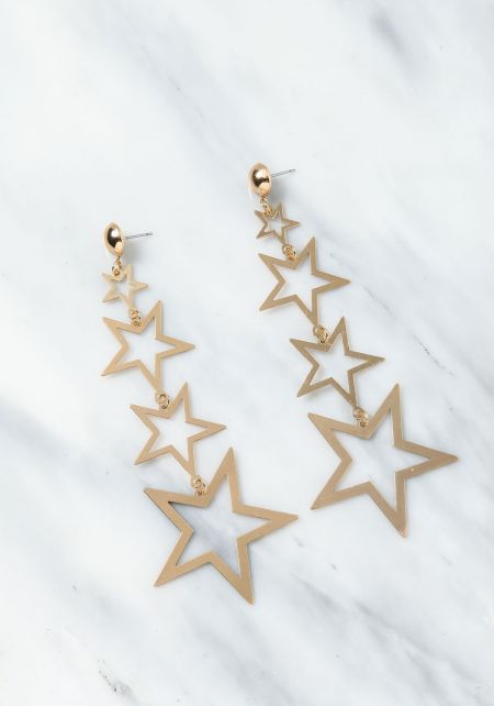 Gold Starry Chandelier Earrings