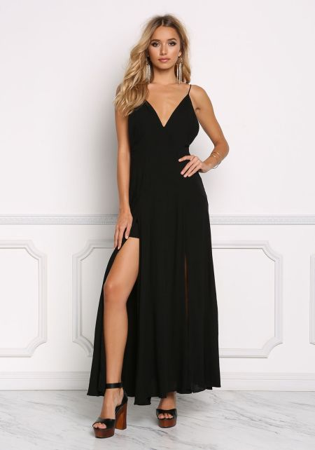 Black Gauze Two Slit Maxi Dress