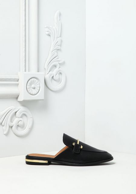 Black Leatherette Loafer Slides