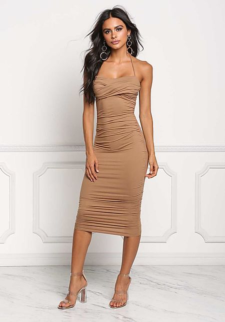 Mocha Ruched Halter Bodycon Dress