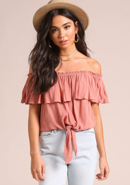 Salmon Crepe Layered Tie Front Crop Top