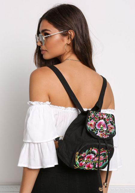 Black Floral Embroidered Backpack