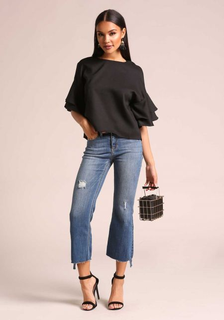 Black Tiered Bell Sleeve Blouse