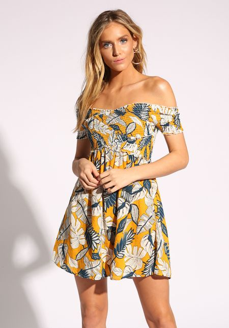 Mustard Off Shoulder Leaf Flared Dress