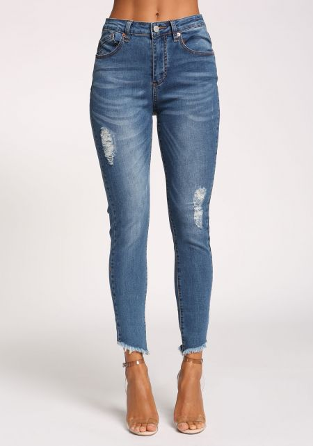 Medium Denim High Rise Distressed Skinny Jeans
