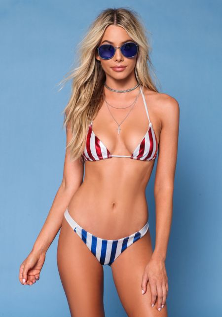 Silver and Red Metallic Stripe Swimsuit Bikini Top