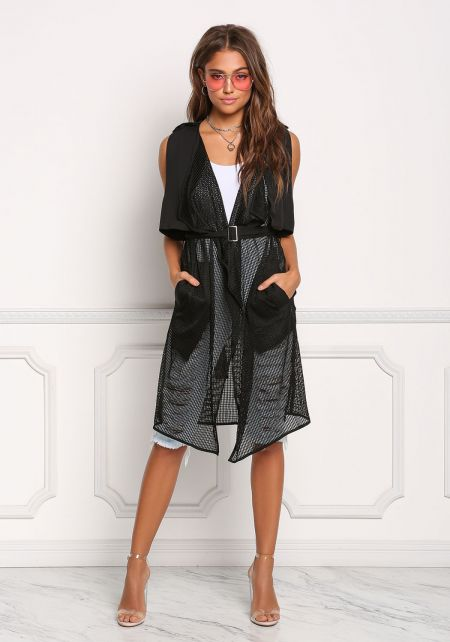 Black Mesh Net Layered Cinched Trench Vest